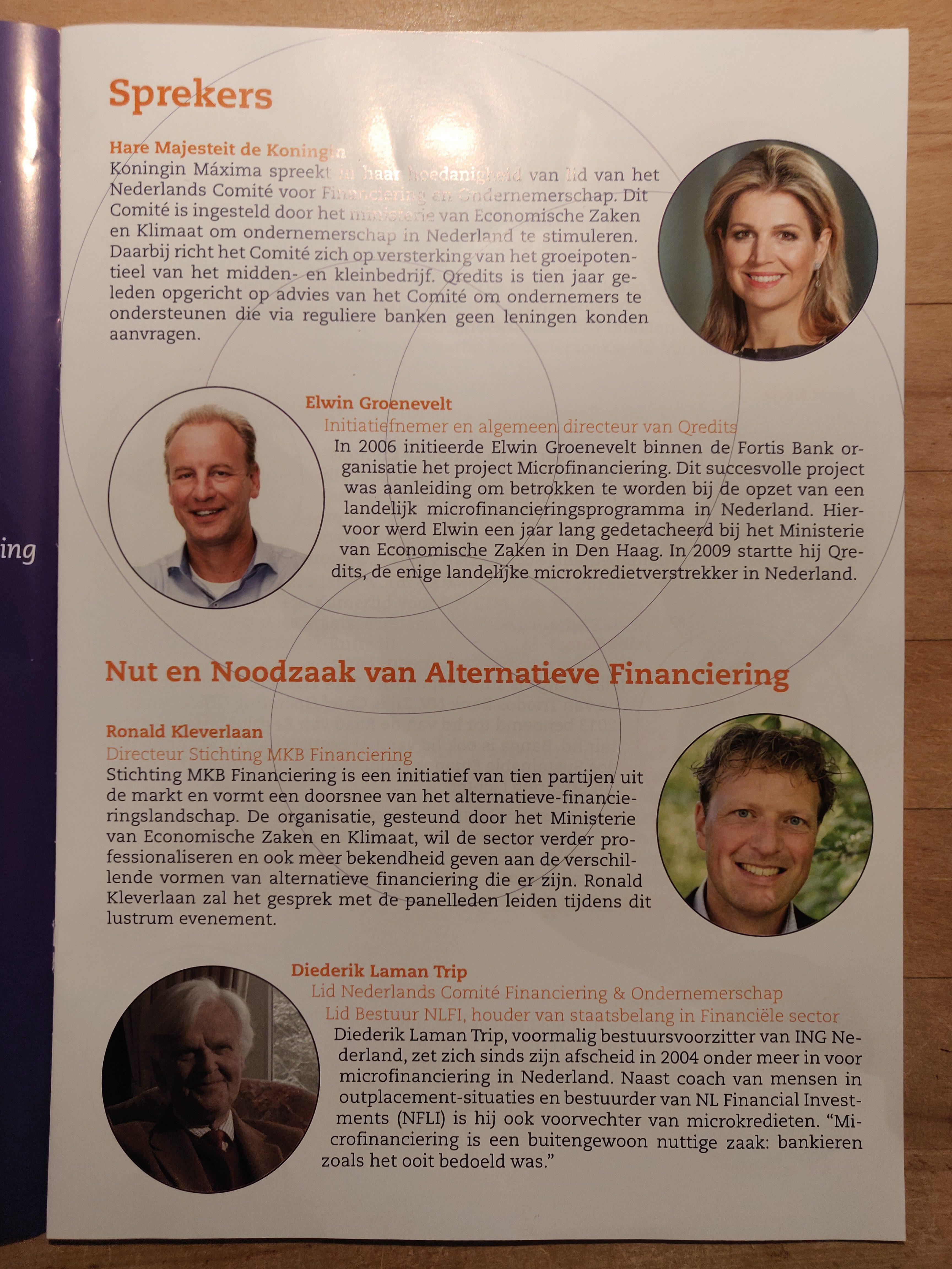 Ronald Kleverlaan sprak namens SMF tijdens 10 jarig jubileum van kredietverstrekker voor ondernemers